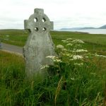 Celtic cross carved in stone